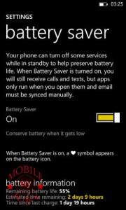 battery saver Nokia Lumia 625
