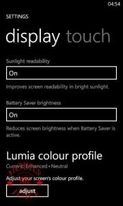 display settings Nokia Lumia 625