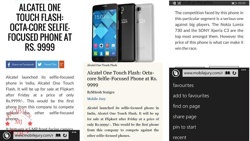 Nokia Lumia 830 Review- Browser