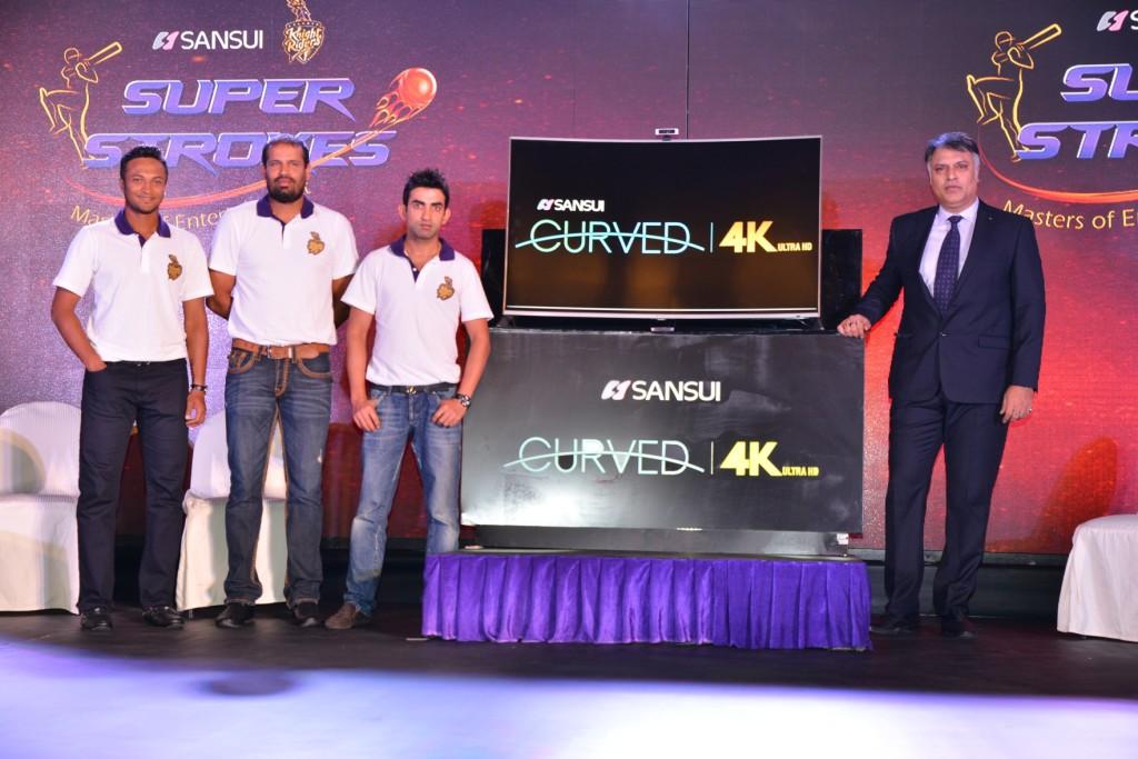 Sansui Curve 4K TV Launch with Team KKR(1)