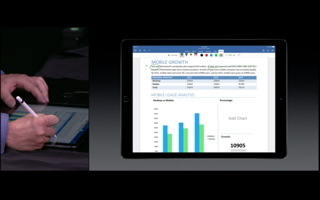 Microsoft Demo at the Apple Event. Showcasing how MS Office Apps will work well with Apple Pencil.